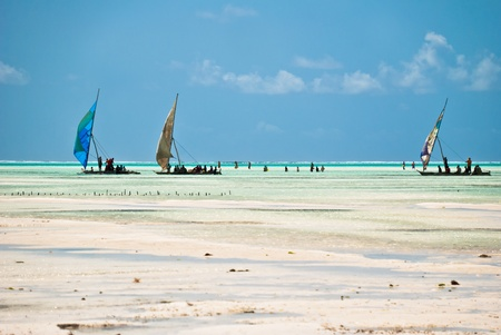 Tropical beach in Zanzibar, Tanzania, during low tide, with fishermen and sailing boats