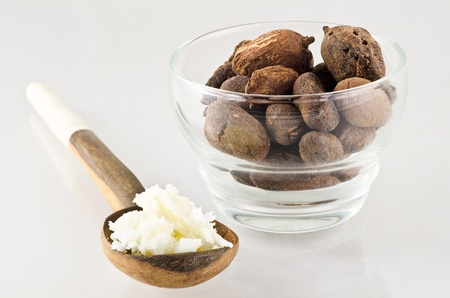 shea butter: wooden spoon of shea butter and shea nuts. Shea nuts come from Africa and are used for cosmetics product and skin care Stock Photo