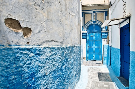 Morocco, Rabat, Kasbah des Oudaias. Tipical blue and white houses. Stock Photo