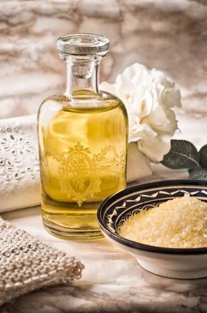 salon and spa: Still life of a bath foams bottle and bath salts