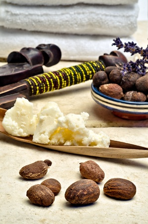 Still life with shea nuts and shea butter used for cosmetic products Stock Photo