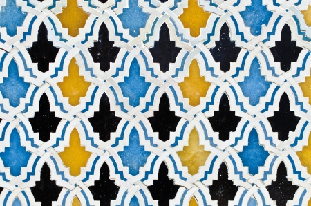 Pattern of multicolored tiles in a mosque of Fez, Morocco