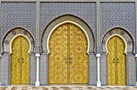 the three big golden doors of the royal palace of Fez, morocco Stock Photo