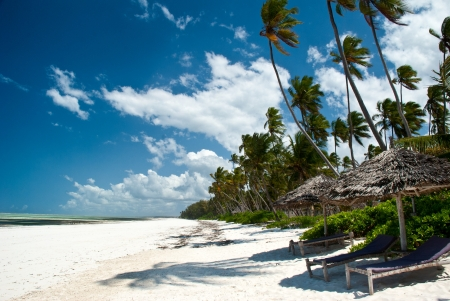 Beautiful beach of white sand in Matemwe, Zanzibar photo