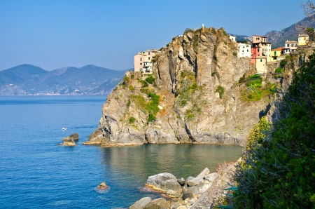 ocean of houses: View of Manarola, one of the Cinque Terre, from the  Path of Love