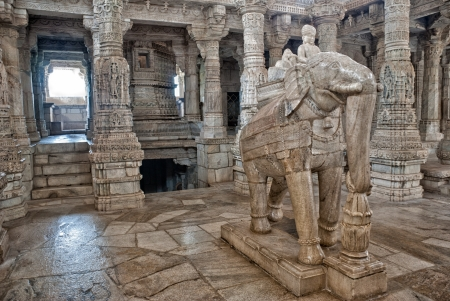 The interior of the Jain temple of Ranakpur, famouse for its carved pillars and statues