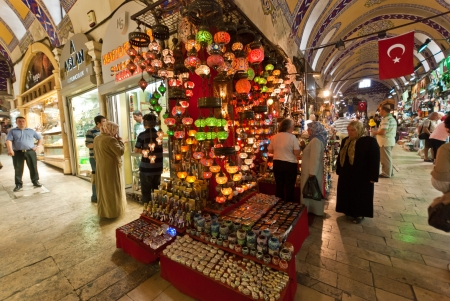 Istanbul, Turkey, 2 June 2009:  crowd at the  Grand Bazaar market looking at crafts and souvenirs Editorial