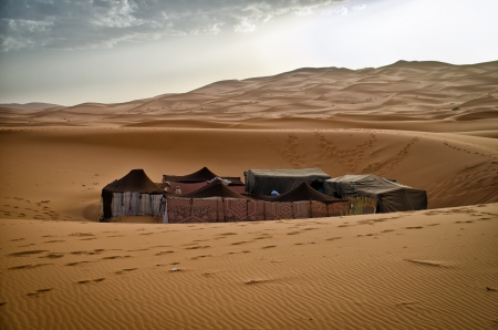 erg: Nomadic tented camp in the Sahara desert, at erg Chebbi