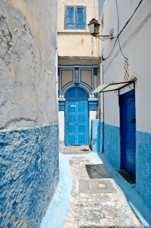 morocco: White and blue streets of the Kasbah des Oudaias, Rabat, Morocco Stock Photo