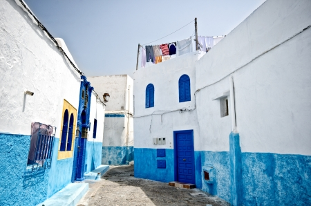 White and blue streets of the Kasbah des Oudaias, Rabat, Morocco Stock Photo