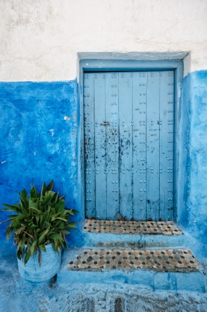 fez: Tipycal blue door in Morocco Stock Photo