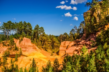 Geological formation of ochre in Roussilion, France
