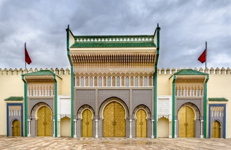 Golden doors of the royal Palace in Fez, Morocco Stock Photo