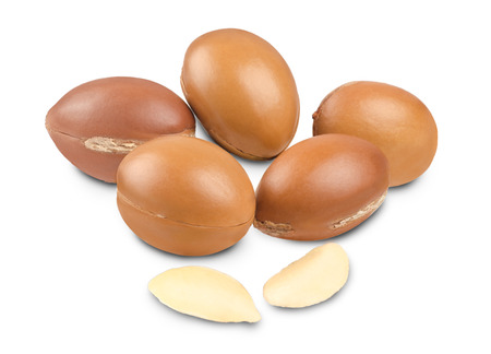 oil seed: Argan fruit and seeds on white