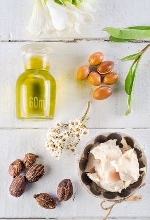 Argan fruits and oil, whit shea nuts and butter photo