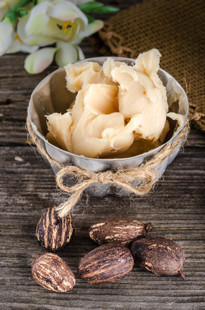 shea butter: A cup full with shea butter with shea nuts on a rusty table