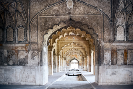 3d temple: Interior arches of the Red Fort in Delhi