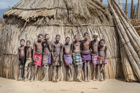 body painting: ARBORE, ETHIOPIA, 13 AUGUST:unidentified boys from Arbore tribe in Arbore, Ethiopia, on 13 august 2014. Body painting is done by the Arbore using natural colors made from soil and stone.