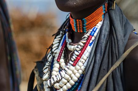 ethiopia: Necklaces of a Arbore tribe woman, from Omo valley, Ethiopia Stock Photo