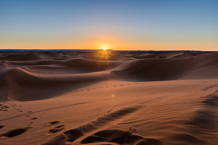 The sunrise in the Sahara desert Erg Chebbi Merzouga Morocco