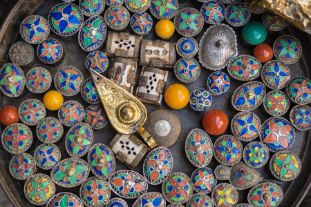 fez: Multicolored metal boxes in the old Medina of Fez, Morocco