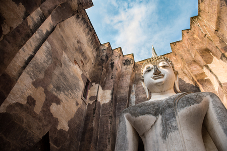 si: Sukhothai historical Park, Thailand, the giant statue of Buddha in the Wat Si Chum