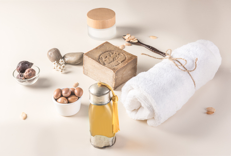 Composition of argan fruits, seeds, oil, cream and soap fot skin care Zdjęcie Seryjne