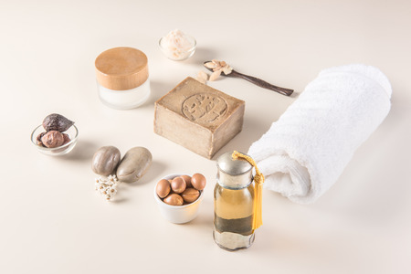 Composition of argan fruits, seeds, oil, cream and soap fot skin care Stock Photo