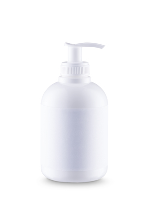 liquid soap: White bottle of liquid soap with dispenser and white label. With clipping paths