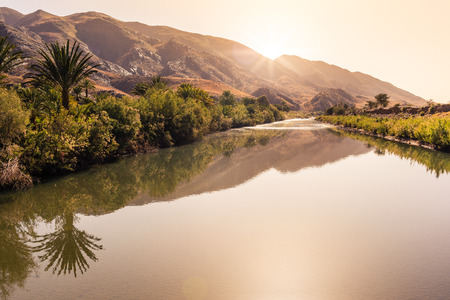 beautiful location: Beautiful location in the south of Morocco with Atlas mountains on the background Stock Photo