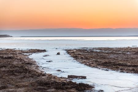 Cristal salt formation on the coast of Deas Sea, Jordan, at sunset.