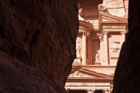 View of top of the Treasury from inside the Siq, Petra, Jordan Stock Photo
