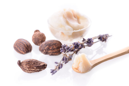 Shea butter and nuts on white Stock Photo