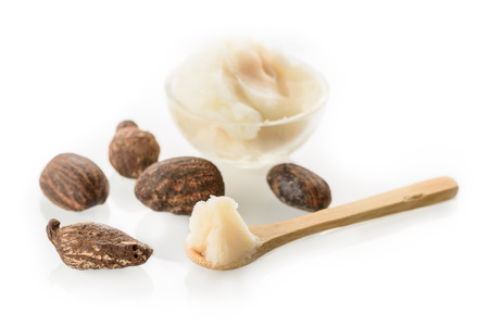 Shea butter and nuts on white 版權商用圖片