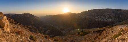 mountain sunset: Panorama view of the Dana Valley, Jordan