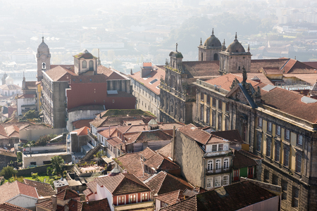 monument historical monument: View of the roofs of Porto, Portugal, from the top of the tower of the church de Los Clerigos Stock Photo
