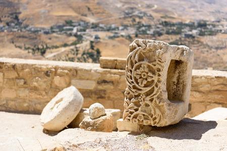 Close up of a carved stone in Karak Castle, Jordan Stock Photo