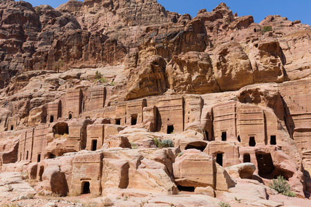 nabatean: Groups of nabatean tombs and caves with decorative facedes