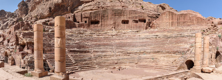 panoramic view of the so called Roman Theter in Petra