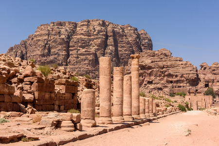 supposed: The Colonnaded street, in ancient Petra, that was supposed to have shops on both sides Stock Photo