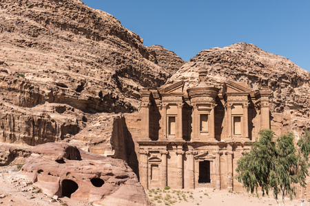 supposed: The nabatean monument called Monastery in Petra, Jordan and that is supposed to be an ancient temple