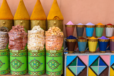 Multicolored stand in the souq (market) of Marrakech Stock Photo