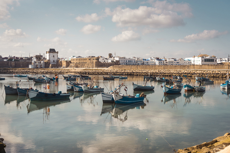 Fishermen boats in the harbour of Assilah, Morocco Stock Photo