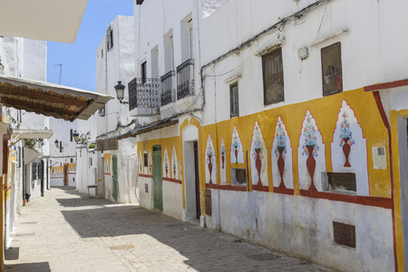 Pented hoses on a street of Tetouan, Morocco