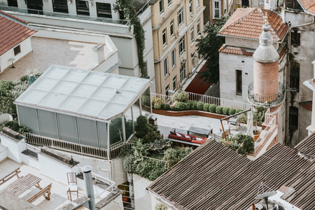 View of roofs and modern terrace from the Galata Tower, istanbul Stock Photo