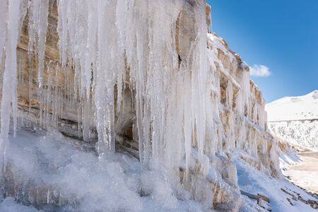 Icicles on a mountain side