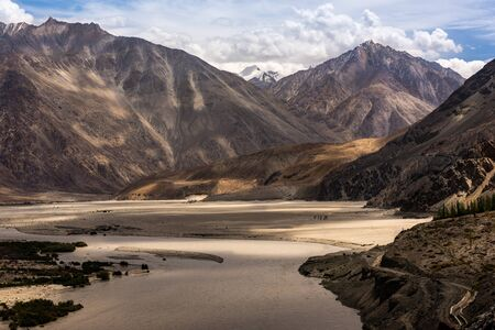 View of the Nubra Valley, Ladakh, India. Snowy mountains in the backgrounds