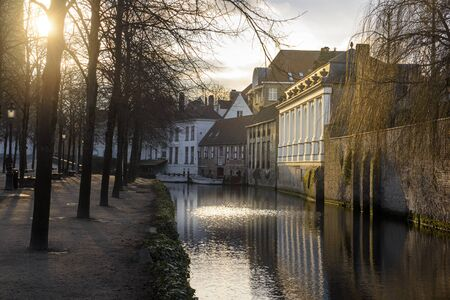 canals of Bruges at sunset Stock Photo