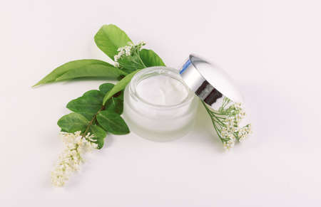 jar of cream for skincare with herbs and flowers Stock Photo
