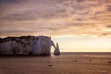 Famouse cliffs of Etretat, france, at sunset